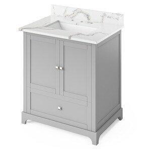 "Jeffrey Alexander 30"" Grey Addington Vanity, Calacatta Vienna Quartz Vanity Top, undermount rectangle bowl"