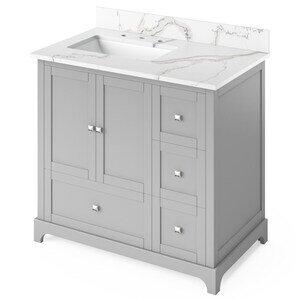 "Jeffrey Alexander 36"" Grey Addington Vanity, left offset, Calacatta Vienna Quartz Vanity Top, undermount rectangle bowl"