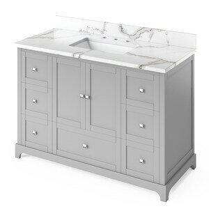 "Jeffrey Alexander 48"" Grey Addington Vanity, Calacatta Vienna Quartz Vanity Top, undermount rectangle bowl"