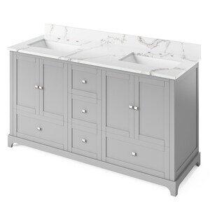 "Jeffrey Alexander 60"" Grey Addington Vanity, double bowl, Calacatta Vienna Quartz Vanity Top, two undermount rectangle bowls"