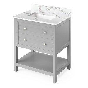 "Jeffrey Alexander 30"" Grey Astoria Vanity, Calacatta Vienna Quartz Vanity Top, undermount rectangle bowl"
