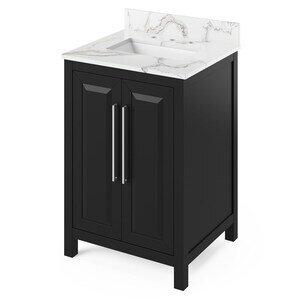 "Jeffrey Alexander 24"" Black Cade Vanity, Calacatta Vienna Quartz Vanity Top, undermount rectangle bowl"
