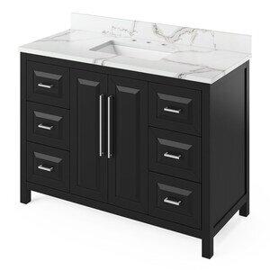 "Jeffrey Alexander 48"" Black Cade Vanity, Calacatta Vienna Quartz Vanity Top, undermount rectangle bowl"