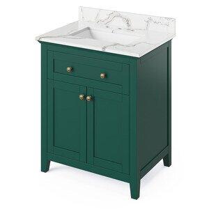 """Jeffrey Alexander 30"""" Forest Green Chatham Vanity, Calacatta Vienna Quartz Vanity Top, undermount rectangle bowl"""