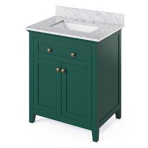 "Jeffrey Alexander 30"" Forest Green Chatham Vanity, White Carrara Marble Vanity Top, undermount rectangle bowl"