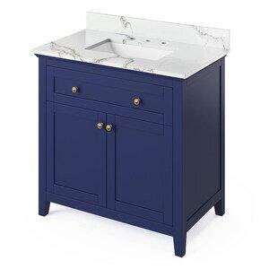 """Jeffrey Alexander 36"""" Hale Blue Chatham Vanity, Calacatta Vienna Quartz Vanity Top, undermount rectangle bowl"""