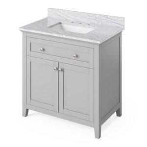 "Jeffrey Alexander 36"" Grey Chatham Vanity, White Carrara Marble Vanity Top, undermount rectangle bowl"