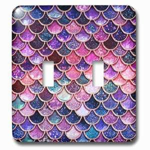 Jazzy Wallplates Double Toggle Wallplate With Image Of Sparkling Pink Purple Luxury Elegant Mermaid Scales Glitter