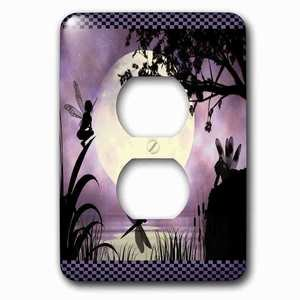 Jazzy Wallplates Single Duplex Outlet With Fairies And Dragonflies With An Purple Moon