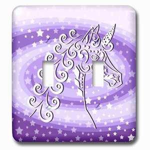 Jazzy Wallplates Double Toggle Wallplate With Magical Unicorn And Stars On Purple Swirl