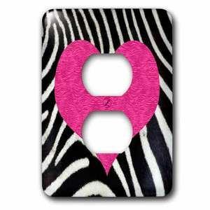 Jazzy Wallplates Single Duplex Wall Plate With Punk Rockabilly Zebra Animal Stripe Pink Heart Print