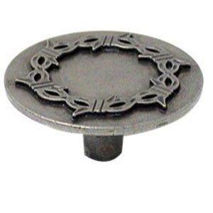 Wild Western Hardware Round Knob with Barbed Wire in Antique Pewter