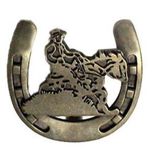 Wild Western Hardware Riding Cowboy Horseshoe Knob in Antique Brass