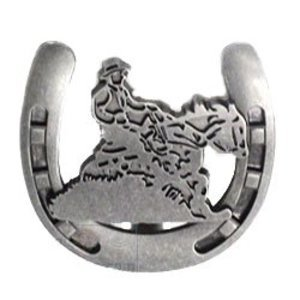 Wild Western Hardware Riding Cowboy Horseshoe Knob in Antique Pewter