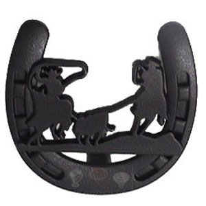 Wild Western Hardware Cabinet Knobs And Pulls Western Calf Roping Horseshoe  Knob In Matte Black