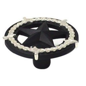 Wild Western Hardware Ornamental Star Knob in Matte Black and Nickel