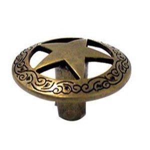 Wild Western Hardware Cabinet Knobs And Pulls Western Filigree Star Knob In  Antique Brass