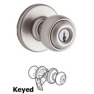 Kwikset Polo   Keyed Entry Door Knob In Satin Nickel