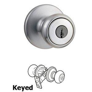 Kwikset Door Hardware Tylo Keyed Entry Door Knob in Satin Chrome