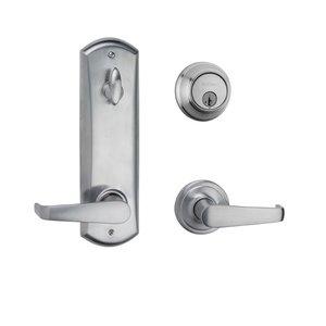 Kwikset Door Hardware Light Commercial Kingston Keyed Entry Interconnected Handleset in Satin Chrome