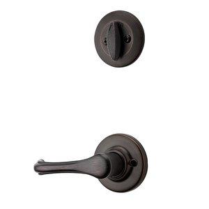 Kwikset Door Hardware Dorian Interior Active Handleset Trim Reversable Door Lever & Single Cylinder Deadbolt In Venetian Bronze