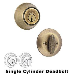 Antimicrobial Microban Single Cylinder Deadbolt In Antique Brass Kwikset Door Hardware 660 5sv1
