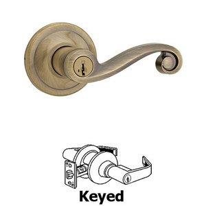Kwikset Signature Series Lido   Keyed Entry Door Lever In Antique Brass