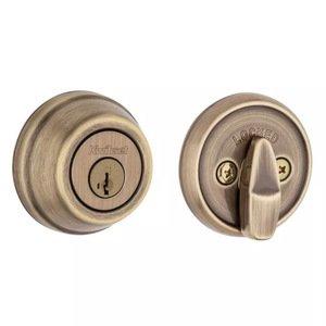Kwikset Door Hardware Deadbolt Single Cylinder Deadbolt in Antique Brass