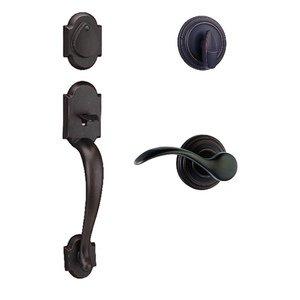 Kwikset Door Hardware Austin Single Cylinder Handleset with Pembroke Interior Active Handleset Trim Left Hand Door Lever & Single Cylinder Deadbolt In Venetian Bronze
