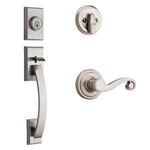 Kwikset Door Hardware Tavaris Single Cylinder Handleset In Lido Interior Active Handleset Trim Right Hand Door Lever & Single Cylinder Deadbolt In Satin Nickel