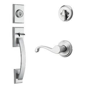 Kwikset Door Hardware Tavaris Single Cylinder Handleset In Commonwealth Interior Active Handleset Trim Left Hand Door Lever & Single Cylinder Deadbolt In Satin Chrome