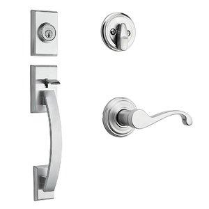 Kwikset Door Hardware Tavaris Single Cylinder Handleset In Commonwealth Interior Active Handleset Trim Right Hand Door Lever & Single Cylinder Deadbolt In Satin Chrome