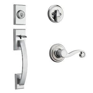 Kwikset Door Hardware Tavaris Single Cylinder Handleset In Lido Interior Active Handleset Trim Right Hand Door Lever & Single Cylinder Deadbolt In Satin Chrome