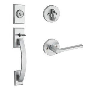 Kwikset Door Hardware Tavaris Single Cylinder Handleset In Lisbon Round Interior Active Handleset Trim Reversable Door Lever & Single Cylinder Deadbolt In Satin Chrome