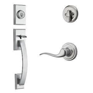 Kwikset Door Hardware Tavaris Single Cylinder Handleset In Tustin Interior Active Handleset Trim Left Hand Door Lever & Single Cylinder Deadbolt In Satin Chrome