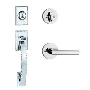 Kwikset Door Hardware Tavaris Single Cylinder Handleset In Milan Round Interior Active Handleset Trim Reversable Door Lever & Single Cylinder Deadbolt In Bright Chrome