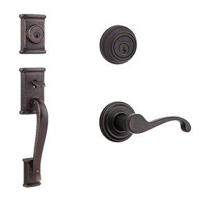 Kwikset Door Hardware Ashfield Double Cylinder Handleset In Commonwealth Interior Active Handleset Trim Right Hand Door Lever & Double Cylinder Deadbolt In Venetian Bronze