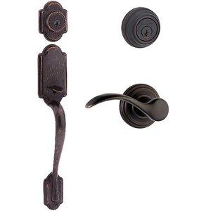 Kwikset Door Hardware Kwikset Signature Series Arlington Double Cylinder Handleset With Pembroke Interior Active Handleset Trim Left Hand Door Lever & Double Cylinder Deadbolt In Venetian Bronze