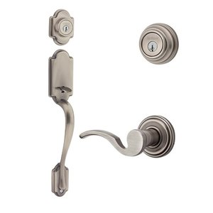 Kwikset Door Hardware Kwikset Signature Series Arlington Double Cylinder Handleset With Brooklane Interior Active Handleset Trim Left Hand Door Lever & Double Cylinder Deadbolt In Antique Nickel