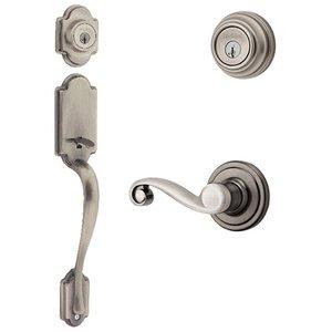 Kwikset Door Hardware Kwikset Signature Series Arlington Double Cylinder Handleset With Lido Interior Active Handleset Trim Left Hand Door Lever & Double Cylinder Deadbolt In Antique Nickel
