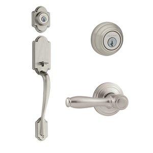 Kwikset Door Hardware Kwikset Signature Series Arlington Double Cylinder Handleset With Ashfield Interior Active Handleset Trim Reversable Door Lever & Double Cylinder Deadbolt In Satin Nickel