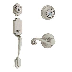 Kwikset Door Hardware Kwikset Signature Series Arlington Double Cylinder Handleset With Lido Interior Active Handleset Trim Left Hand Door Lever & Double Cylinder Deadbolt In Satin Nickel