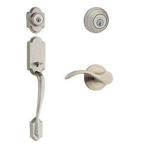Kwikset Door Hardware Kwikset Signature Series Arlington Double Cylinder Handleset With Pembroke Interior Active Handleset Trim Left Hand Door Lever & Double Cylinder Deadbolt In Satin Nickel