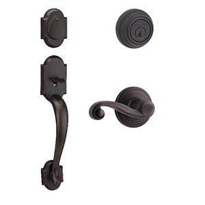 Kwikset Door Hardware Austin Double Cylinder Handleset with Lido Interior Active Handleset Trim Left Hand Door Lever & Double Cylinder Deadbolt In Venetian Bronze