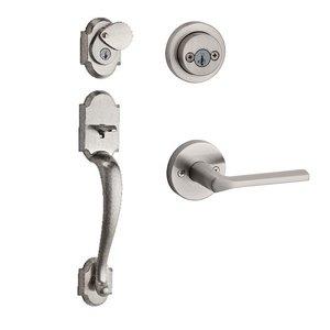 Kwikset Door Hardware Austin Double Cylinder Handleset with Lisbon Round Interior Active Handleset Trim Reversable Door Lever & Double Cylinder Deadbolt In Satin Nickel