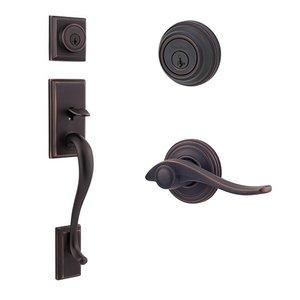 Kwikset Door Hardware Hawthorne Double Cylinder Handleset With Avalon Interior Active Handleset Trim Right Hand Door Lever & Double Cylinder Deadbolt In Venetian Bronze