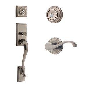 Kwikset Door Hardware Hawthorne Double Cylinder Handleset With Commonwealth Interior Active Handleset Trim Right Hand Door Lever & Double Cylinder Deadbolt In Antique Nickel