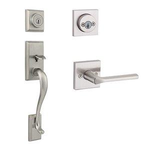 Kwikset Door Hardware Hawthorne Double Cylinder Handleset With Lisbon Square Interior Active Handleset Trim Reversable Door Lever & Double Cylinder Deadbolt In Satin Nickel