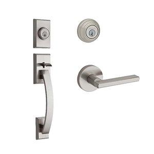 Kwikset Door Hardware Tavaris Double Cylinder Handleset In Halifax Round Interior Active Handleset Trim Reversable Door Lever & Double Cylinder Deadbolt In Satin Nickel