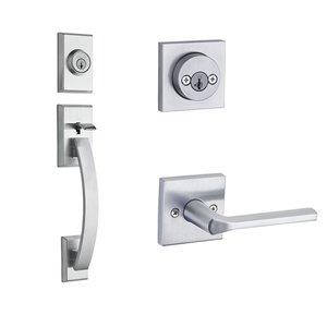 Kwikset Door Hardware Tavaris Double Cylinder Handleset In Lisbon Square Interior Active Handleset Trim Reversable Door Lever & Double Cylinder Deadbolt In Satin Chrome
